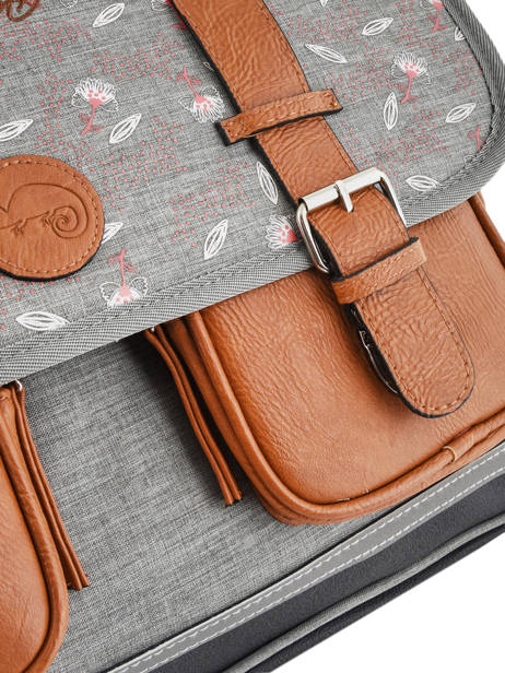 Satchel For Girl 2 Compartments Cameleon Gray vintage print girl VIG-CA38 other view 1