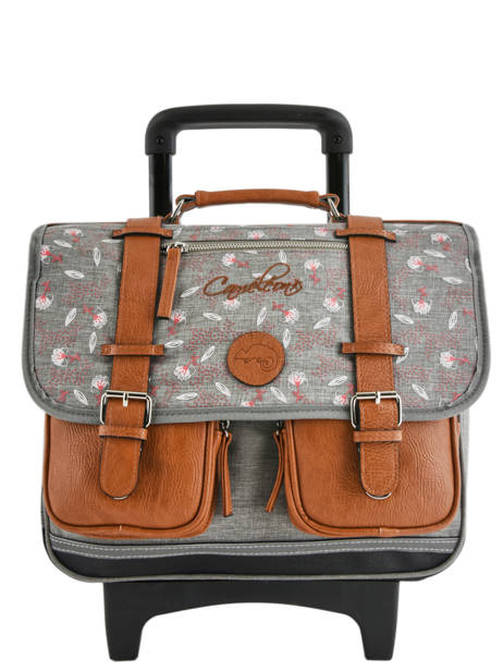 Wheeled Schoolbag For Girls 2 Compartments Cameleon Gray vintage print girl VIG-CR38