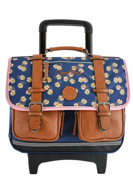 Wheeled Schoolbag For Girls 2 Compartments Cameleon Blue vintage print girl VIG-CR38