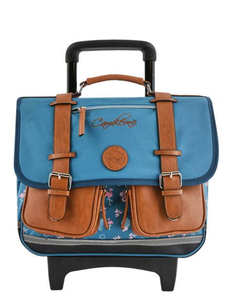 Wheeled Schoolbag For Girls 2 Compartments Cameleon Blue vintage print girl VIG-CR38