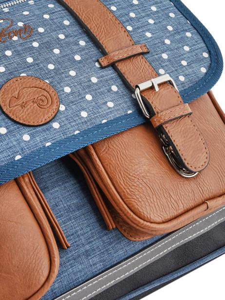 Cartable à Roulettes Fille 2 Compartiments Cameleon Bleu vintage print girl VIG-CR38 vue secondaire 1