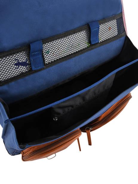 Cartable à Roulettes Fille 2 Compartiments Cameleon Bleu vintage print girl VIG-CR38 vue secondaire 8
