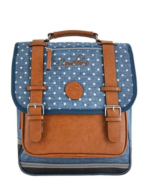 Backpack For Girls 2 Compartments Cameleon Blue vintage print girl VIG-SD38