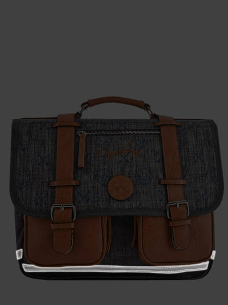 Satchel For Boys 2 Compartments Cameleon Gray vintage print boy VIB-CA35 other view 6