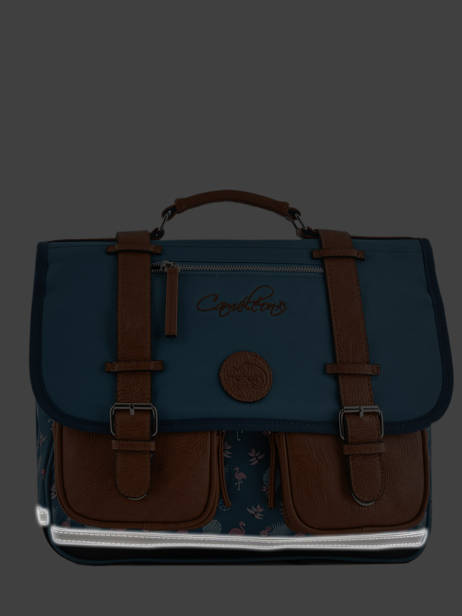 Satchel For Girls 2 Compartments Cameleon Blue vintage print girl VIG-CA35 other view 7