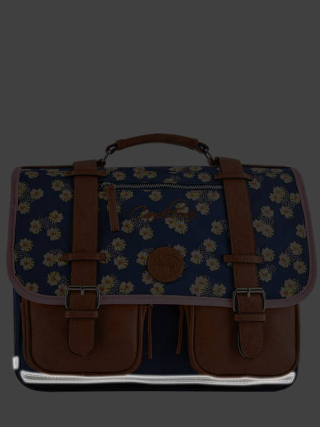 Satchel For Girls 2 Compartments Cameleon Blue vintage print girl VIG-CA35 other view 5