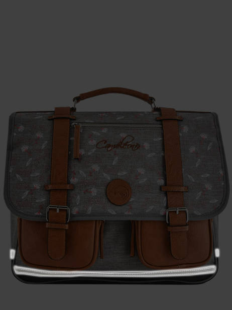 Satchel For Girl 2 Compartments Cameleon Gray vintage print girl VIG-CA38 other view 7