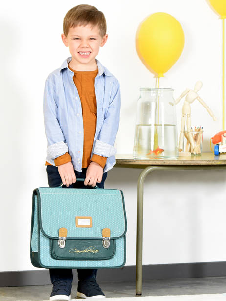Satchel For Kids 2 Compartments Cameleon Blue retro RET-CA38 other view 4