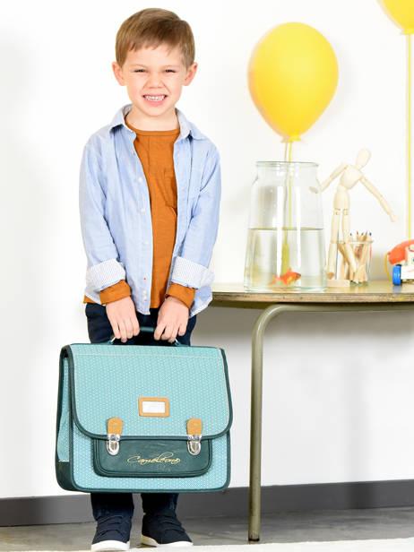 Cartable Enfant 2 Compartiments Cameleon Bleu retro RET-CA38 vue secondaire 4