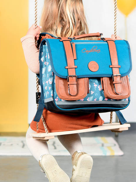 Satchel For Girls 2 Compartments Cameleon Blue vintage print girl VIG-CA35 other view 4