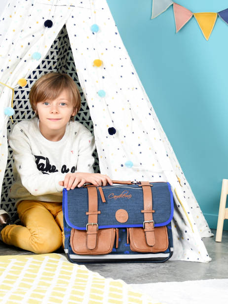 Satchel For Boys 2 Compartments Cameleon Blue vintage print boy VIB-CA38 other view 3
