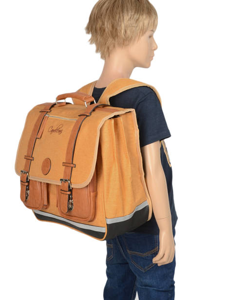 Satchel For Kids 3 Compartments Cameleon Yellow vintage chine VIN-CA41 other view 2