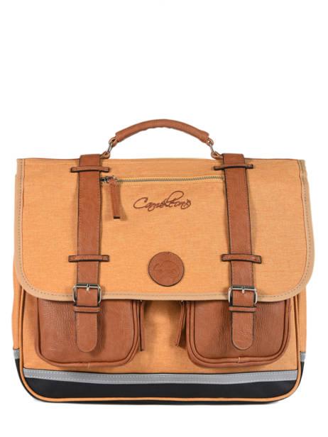 Cartable Enfant 3 Compartiments Cameleon Jaune vintage chine VIN-CA41