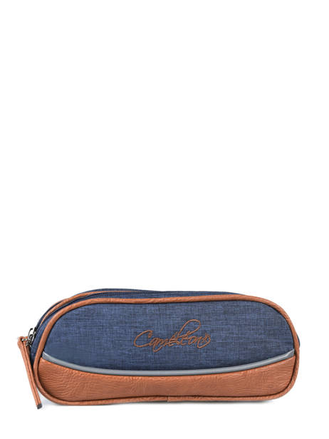 Pencil Case For Kids 2 Compartments Cameleon Blue vintage chine VIN-TROU