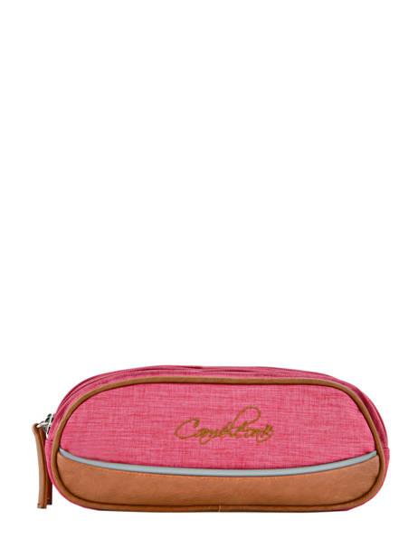 Pencil Case For Kids 2 Compartments Cameleon Pink vintage chine VIN-TROU