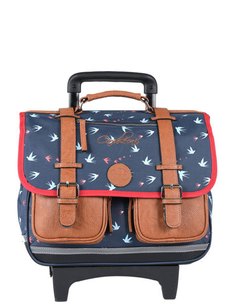 Cartable A Roulettes 2 Compartiments Cameleon Blue vintage print girl PBVGCR38