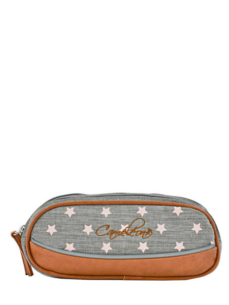 Pencil Case For Girls 2 Compartments Cameleon Gray vintage print girl VIG-TROU