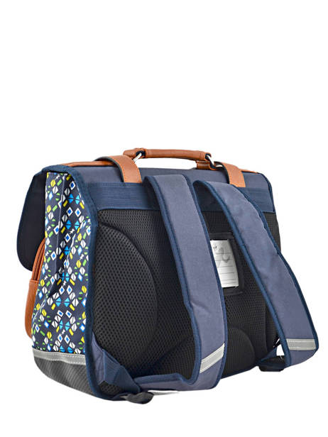 Satchel For Boys 2 Compartments Cameleon Blue vintage print boy VIB-CA38 other view 4