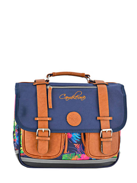 Satchel For Girls 2 Compartments Cameleon Blue vintage print girl VIG-CA35
