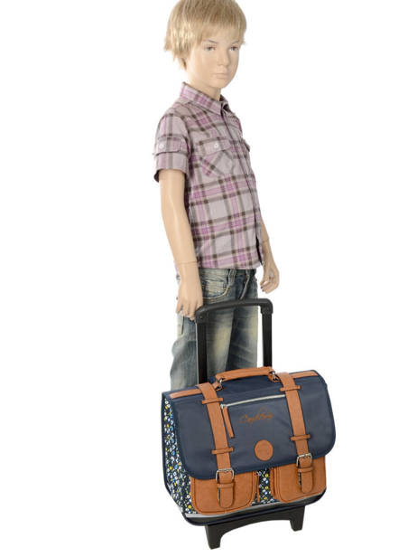 Wheeled Schoolbag For Boys 2 Compartments Cameleon Blue vintage print boy VIB-CR38 other view 2