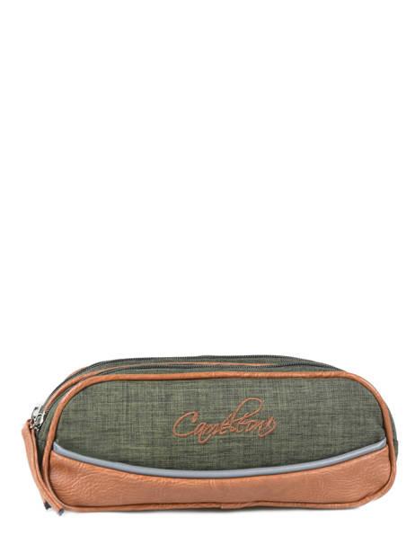 Pencil Case For Kids 2 Compartments Cameleon Green vintage chine VIN-TROU