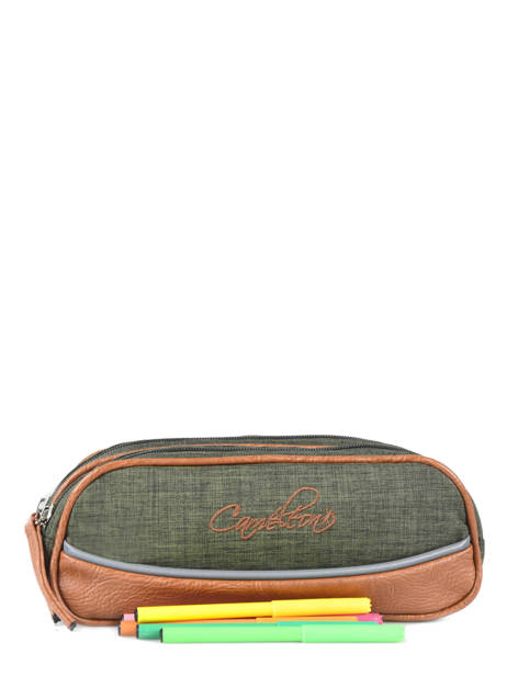 Pencil Case For Kids 2 Compartments Cameleon Green vintage chine VIN-TROU other view 1