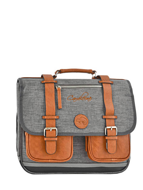 Satchel For Kids 2 Compartments Cameleon Gray vintage chine VIN-CA38