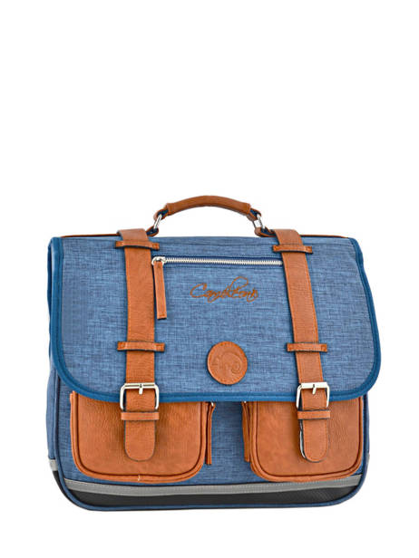 Cartable Enfant 2 Compartiments Cameleon Bleu vintage chine VIN-CA38