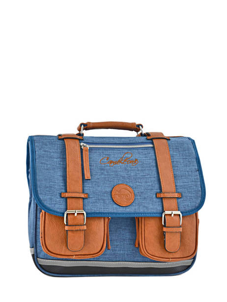 Cartable Enfant 2 Compartiments Cameleon Bleu vintage chine VIN-CA35