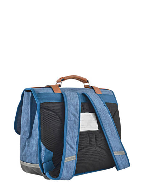 Cartable Enfant 2 Compartiments Cameleon Bleu vintage chine VIN-CA35 vue secondaire 3