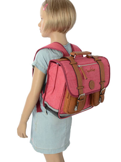 Satchel For Kids 2 Compartments Cameleon Pink vintage chine VIN-CA35 other view 2
