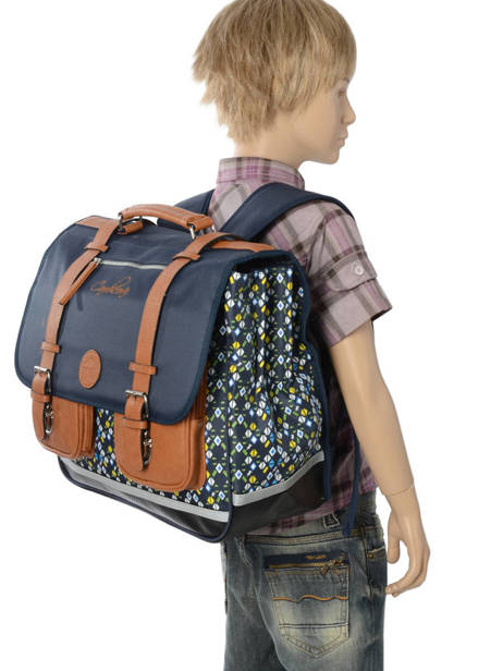 Satchel For Boys 3 Compartments Cameleon Blue vintage print boy VIB-CA41 other view 2