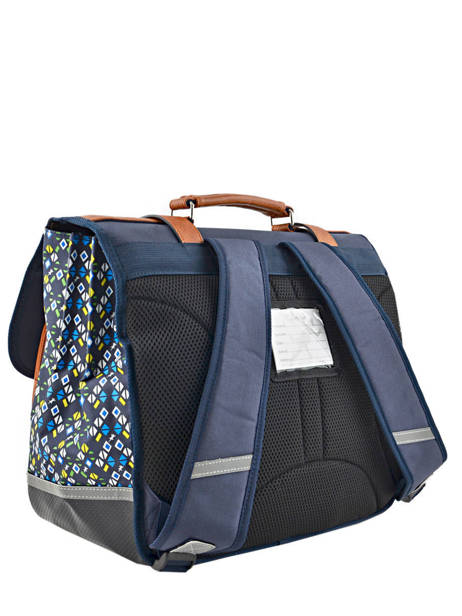 Satchel For Boys 3 Compartments Cameleon Blue vintage print boy VIB-CA41 other view 3
