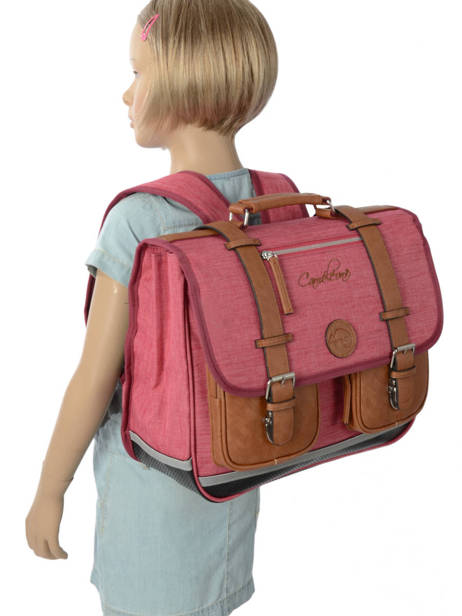 Satchel For Kids 2 Compartments Cameleon Pink vintage chine VIN-CA38 other view 2