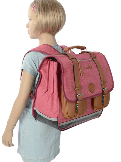 Cartable Enfant 3 Compartiments Cameleon Rose vintage chine VIN-CA41 vue secondaire 2