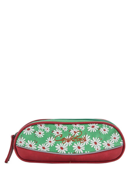 Pencil Case For Girls 2 Compartments Cameleon Green vintage print girl VIG-TROU