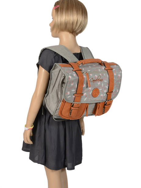 Wheeled Schoolbag For Girls 2 Compartments Cameleon Gray vintage print girl PBVGCA35 other view 3