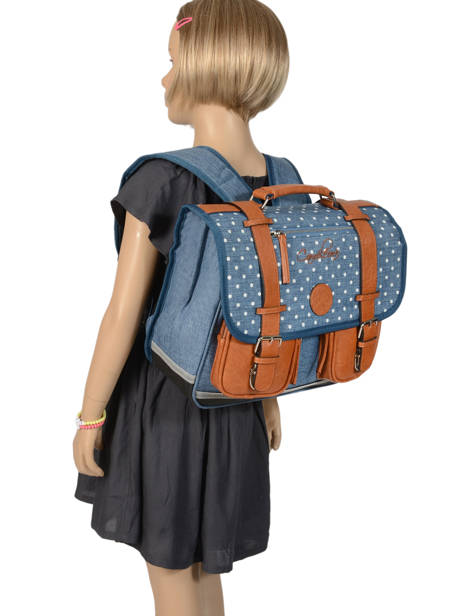 Wheeled Schoolbag For Girls 2 Compartments Cameleon Blue vintage print girl PBVGCA35 other view 3