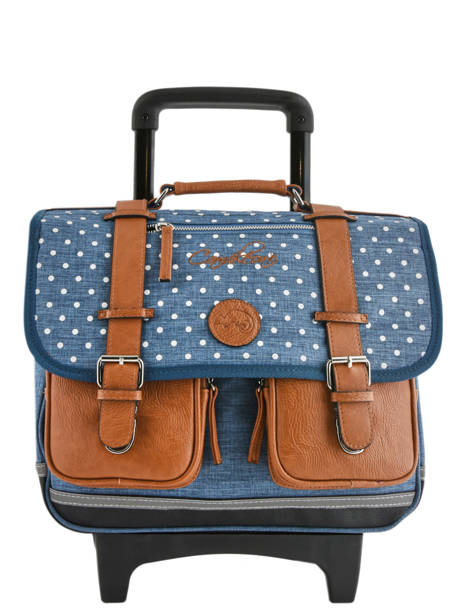 Schoolbag On Wheels For Kids 2 Compartments Cameleon Blue vintage print girl PBVGCR38