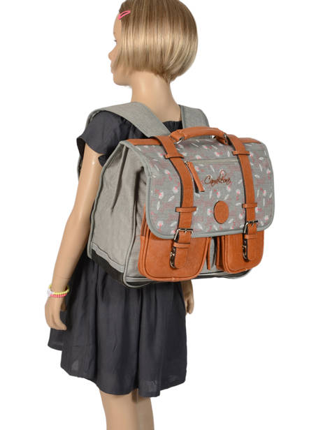 Wheeled Schoolbag For Girls 2 Compartments Cameleon Gray vintage print girl PBVGCA38 other view 3