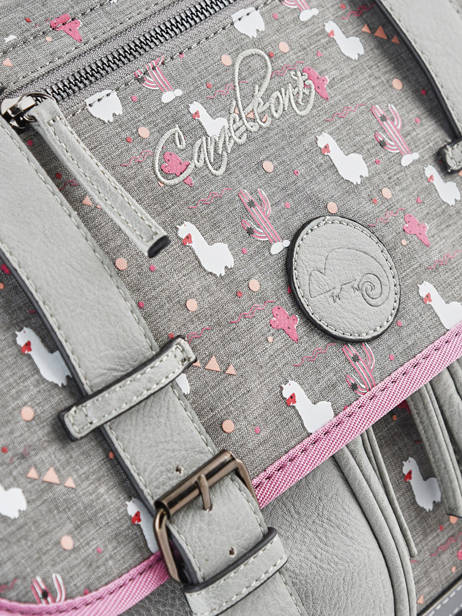Cartable Fille 2 Compartiments Cameleon Gris vintage fantasy VIG-CA35 vue secondaire 2