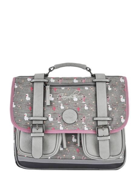 Satchel For Girls 2 Compartments Cameleon Gray vintage print girl VIG-CA35