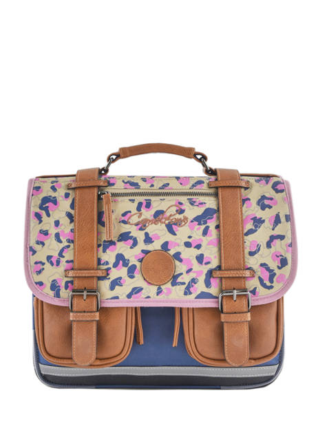 Satchel For Girls 2 Compartments Cameleon Multicolor vintage print girl VIG-CA35
