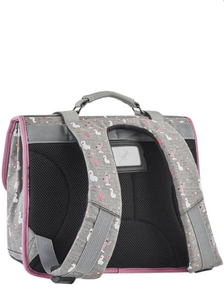 Satchel For Girl 2 Compartments Cameleon Gray vintage print girl VIG-CA38 other view 5