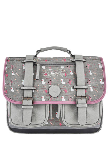 Cartable Fille 2 Compartiments Cameleon Gris vintage print girl VIG-CA38