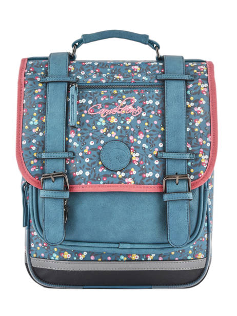 Backpack For Girls 2 Compartments Cameleon Blue vintage print girl VIG-SD38