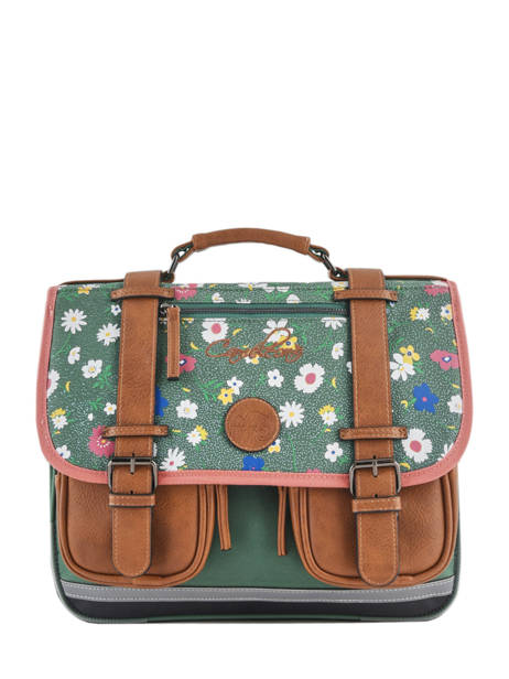 Satchel For Girls 2 Compartments Cameleon Green vintage print girl VIG-CA35