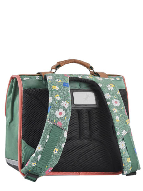 Satchel For Girl 2 Compartments Cameleon Green vintage print girl VIG-CA38 other view 5