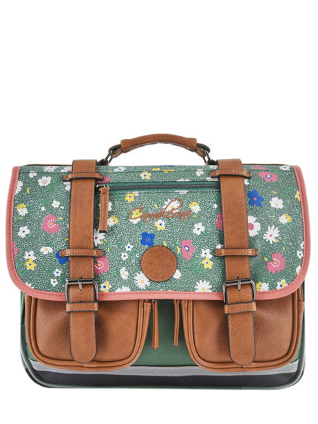 Satchel For Girl 2 Compartments Cameleon Green vintage print girl VIG-CA38