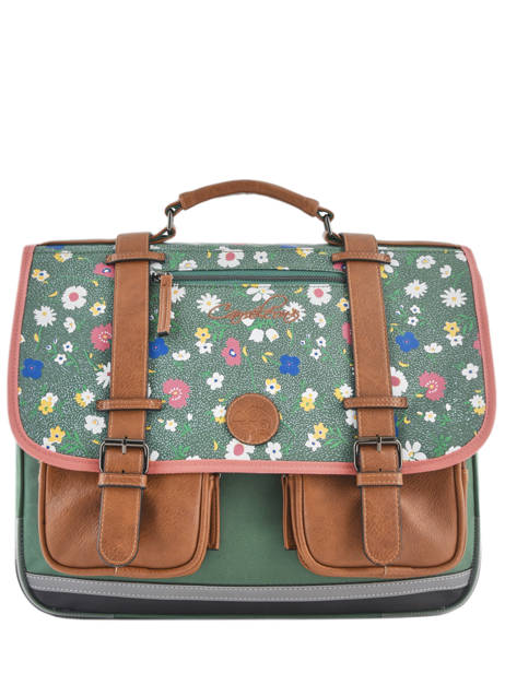 Satchel For Girls 3 Compartments Cameleon Green vintage print girl VIG-CA41